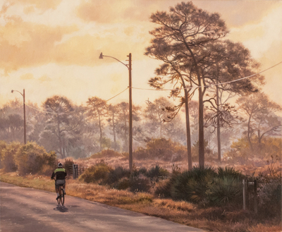 David Langmead - MORNING RIDE - OIL ON CANVAS - 15 3/4 X 19 1/4