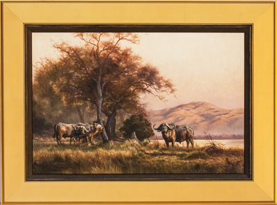 David Langmead - SUNDOWN IN THE VALLEY - OIL ON CANVAS - 15 3/4 X 23 3/4