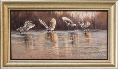 David Langmead - SILVER LININGS - OIL ON CANVAS - 16 13/16 X 33