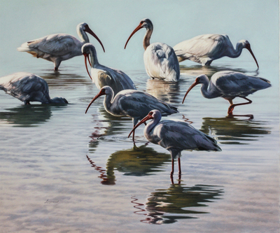 David Langmead - THE IBIS LOUNGE - OIL ON CANVAS - 30 X 35 1/2