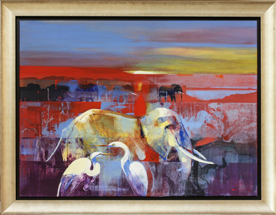 Derric van Rensburg - ON THE MARCH - ACRYLIC ON CANVAS - 35 X 46 3/4