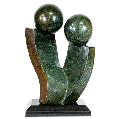 Godfrey Zonde - EMBRACE - GREEN SERPENTINE - 19 X 12 X 7