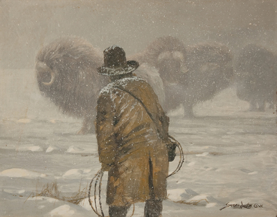 John Seerey-Lester - QUEST FOR MUSK OXEN - OIL ON CANVAS - 11 X 14