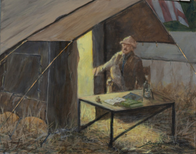 John Seerey-Lester - TR AT CAMP - ACRYLIC ON PANEL - 8 X 10
