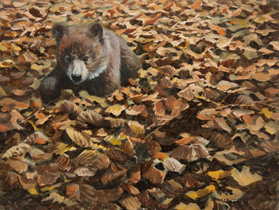 John Seerey-Lester - FALL LEAVES AND CUB - OIL ON PANEL - 9 X 12