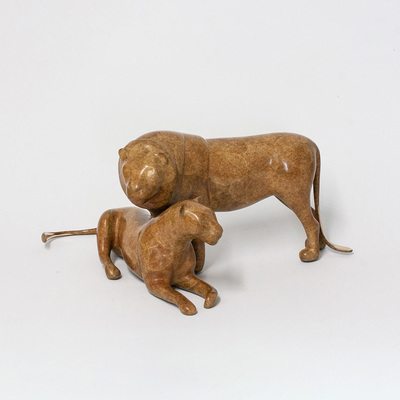 "Loet Vanderveen - LION PAIR (180) - BRONZE - 17 X 9 X 7.25 - Free Shipping Anywhere In The USA! <br> <br>These sculptures are bronze limited editions <br> <br><a href=""/[sculpture]/[available]-[patina]-[swatches]/"">More than 30 patinas are available</a>. Available patinas are indicated as IN STOCK. All others must be ordered. Please call the galleries with special order details if not in stock."