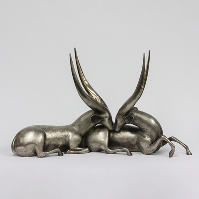 "Loet Vanderveen - BUSHBUCKS (185) - BRONZE - 30 X 9 X 18 - Free Shipping Anywhere In The USA! <br> <br>These sculptures are bronze limited editions <br> <br><a href=""/[sculpture]/[available]-[patina]-[swatches]/"">More than 30 patinas are available</a>. Available patinas are indicated as IN STOCK. All others must be ordered. Please call the galleries with special order details if not in stock."