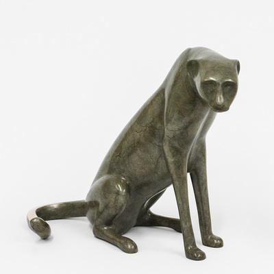 "Loet Vanderveen - CHEETAH, SM SEATED #2 HEAD DOWN (310) - BRONZE - 17 X 9 X 12.5 - Free Shipping Anywhere In The USA! <br> <br>These sculptures are bronze limited editions <br> <br><a href=""/[sculpture]/[available]-[patina]-[swatches]/"">More than 30 patinas are available</a>. Available patinas are indicated as IN STOCK. All others must be ordered. Please call the galleries with special order details if not in stock."
