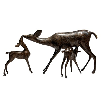 "Loet Vanderveen - DOE & FAWNS (317) - BRONZE - 12 X 6 - Free Shipping Anywhere In The USA! <br> <br>These sculptures are bronze limited editions <br> <br><a href=""/[sculpture]/[available]-[patina]-[swatches]/"">More than 30 patinas are available</a>. Available patinas are indicated as IN STOCK. All others must be ordered. Please call the galleries with special order details if not in stock."