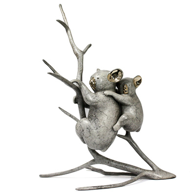 "Loet Vanderveen - KOALA & BABY (335) - BRONZE - 12 X 10 - Free Shipping Anywhere In The USA! <br> <br>These sculptures are bronze limited editions <br> <br><a href=""/[sculpture]/[available]-[patina]-[swatches]/"">More than 30 patinas are available</a>. Available patinas are indicated as IN STOCK. All others must be ordered. Please call the galleries with special order details if not in stock."