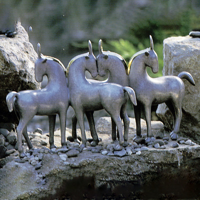 "Loet Vanderveen - HORSES, FOUR (355) - BRONZE - 11 X 7 - Free Shipping Anywhere In The USA! <br> <br>These sculptures are bronze limited editions <br> <br><a href=""/[sculpture]/[available]-[patina]-[swatches]/"">More than 30 patinas are available</a>. Available patinas are indicated as IN STOCK. All others must be ordered. Please call the galleries with special order details if not in stock."