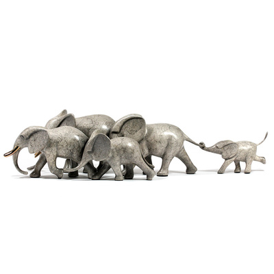 "Loet Vanderveen - ELEPHANTS RUNNING X5 (362) - BRONZE - 22 X 8 X 4.5 - Free Shipping Anywhere In The USA! <br> <br>These sculptures are bronze limited editions <br> <br><a href=""/[sculpture]/[available]-[patina]-[swatches]/"">More than 30 patinas are available</a>. Available patinas are indicated as IN STOCK. All others must be ordered. Please call the galleries with special order details if not in stock."