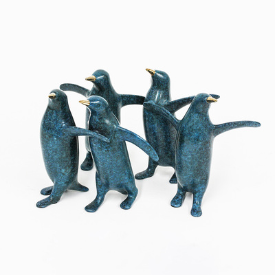 "Loet Vanderveen - PENGUIN GROUP, SM. X5 (377) - BRONZE - 11 X 5.5 - Free Shipping Anywhere In The USA! <br> <br>These sculptures are bronze limited editions <br> <br><a href=""/[sculpture]/[available]-[patina]-[swatches]/"">More than 30 patinas are available</a>. Available patinas are indicated as IN STOCK. All others must be ordered. Please call the galleries with special order details if not in stock."