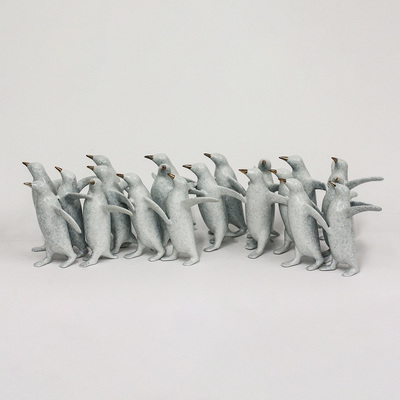 "Loet Vanderveen - PENGUINS, LG GROUP X20 (378) - BRONZE - 21.5 X 5.5 - Free Shipping Anywhere In The USA! <br> <br>These sculptures are bronze limited editions <br> <br><a href=""/[sculpture]/[available]-[patina]-[swatches]/"">More than 30 patinas are available</a>. Available patinas are indicated as IN STOCK. All others must be ordered. Please call the galleries with special order details if not in stock."