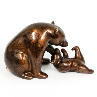"Loet Vanderveen - BEAR AND CUB (402) - BRONZE - 10 X 5.25 - Free Shipping Anywhere In The USA! <br> <br>These sculptures are bronze limited editions <br> <br><a href=""/[sculpture]/[available]-[patina]-[swatches]/"">More than 30 patinas are available</a>. Available patinas are indicated as IN STOCK. All others must be ordered. Please call the galleries with special order details if not in stock."