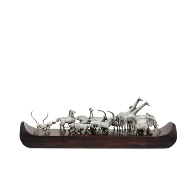 "Loet Vanderveen - ARK, NOAH'S LG (404) - BRONZE - 32 X 9 - Free Shipping Anywhere In The USA! <br> <br>These sculptures are bronze limited editions <br> <br><a href=""/[sculpture]/[available]-[patina]-[swatches]/"">More than 30 patinas are available</a>. Available patinas are indicated as IN STOCK. All others must be ordered. Please call the galleries with special order details if not in stock."