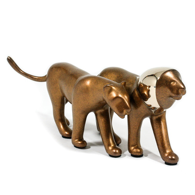 "Loet Vanderveen - LION PAIR, NOAH'S (412) - BRONZE - 6.5 X 3.25 - Free Shipping Anywhere In The USA! <br> <br>These sculptures are bronze limited editions <br> <br><a href=""/[sculpture]/[available]-[patina]-[swatches]/"">More than 30 patinas are available</a>. Available patinas are indicated as IN STOCK. All others must be ordered. Please call the galleries with special order details if not in stock."