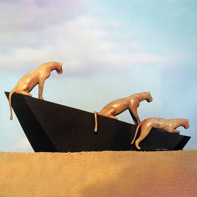 "Loet Vanderveen - LIONESSES AND STRUCTURE (433) - BRONZE - 21.5 X 5.5 X 11 - Free Shipping Anywhere In The USA! <br> <br>These sculptures are bronze limited editions <br> <br><a href=""/[sculpture]/[available]-[patina]-[swatches]/"">More than 30 patinas are available</a>. Available patinas are indicated as IN STOCK. All others must be ordered. Please call the galleries with special order details if not in stock."