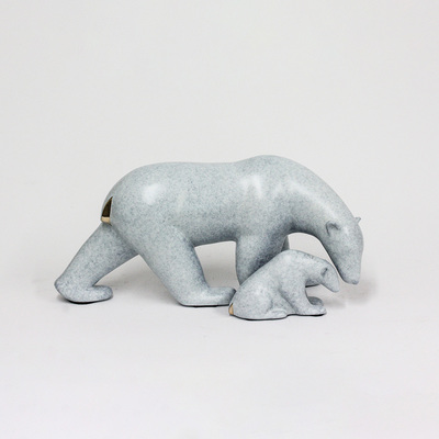 "Loet Vanderveen - POLAR BEAR AND BABY, STANDING (438) - BRONZE - 15.5 X 8 X 7.25 - Free Shipping Anywhere In The USA! <br> <br>These sculptures are bronze limited editions <br> <br><a href=""/[sculpture]/[available]-[patina]-[swatches]/"">More than 30 patinas are available</a>. Available patinas are indicated as IN STOCK. All others must be ordered. Please call the galleries with special order details if not in stock."