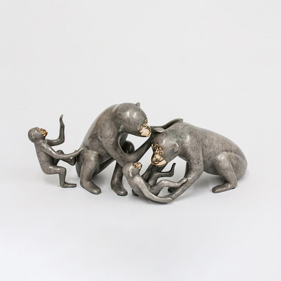 "Loet Vanderveen - CHIMPANZEE FAMILY (453) - BRONZE - 15 X 7 - Free Shipping Anywhere In The USA! <br> <br>These sculptures are bronze limited editions <br> <br><a href=""/[sculpture]/[available]-[patina]-[swatches]/"">More than 30 patinas are available</a>. Available patinas are indicated as IN STOCK. All others must be ordered. Please call the galleries with special order details if not in stock."