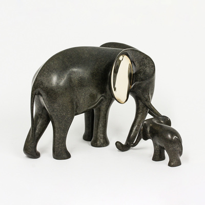 "Loet Vanderveen - ELEPHANT AND BABY, NEW (464) - BRONZE - 9 X 9 X 6 - Free Shipping Anywhere In The USA! <br> <br>These sculptures are bronze limited editions <br> <br><a href=""/[sculpture]/[available]-[patina]-[swatches]/"">More than 30 patinas are available</a>. Available patinas are indicated as IN STOCK. All others must be ordered. Please call the galleries with special order details if not in stock."