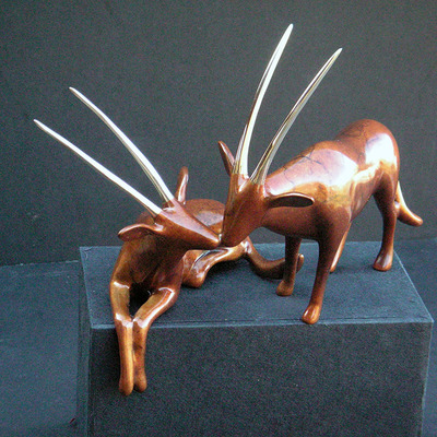 "Loet Vanderveen - ORYX PAIR (501) - BRONZE - 7.5 X 4.5 X 6.25 - Free Shipping Anywhere In The USA! <br> <br>These sculptures are bronze limited editions <br> <br><a href=""/[sculpture]/[available]-[patina]-[swatches]/"">More than 30 patinas are available</a>. Available patinas are indicated as IN STOCK. All others must be ordered. Please call the galleries with special order details if not in stock."