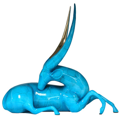 "Loet Vanderveen - BUSHBUCK, RECLINING (502) - BRONZE - 18 X 7 X 16 - Free Shipping Anywhere In The USA! <br> <br>These sculptures are bronze limited editions <br> <br><a href=""/[sculpture]/[available]-[patina]-[swatches]/"">More than 30 patinas are available</a>. Available patinas are indicated as IN STOCK. All others must be ordered. Please call the galleries with special order details if not in stock."