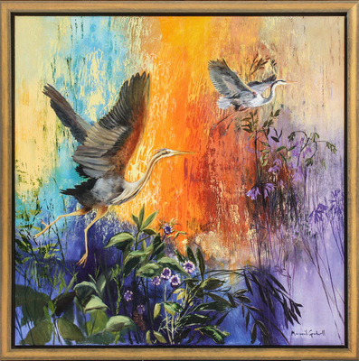 Margaret Gradwell - THE HERON'S RACE - ACRYLIC AND OIL ON CANVAS - 50 X 50